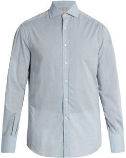 French-collar Cotton Shirt