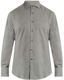French-collar Cotton Shirt