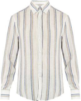 Slim-fit Stripe-print Linen Shirt