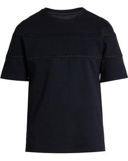 Stitch-detail Cotton-blend T-shirt