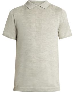No-button Wool And Silk-blend Polo Shirt
