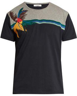 Bi-colour Appliqué Cotton T-shirt