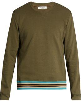 Striped Hem Cotton-blend Jersey Sweatshirt