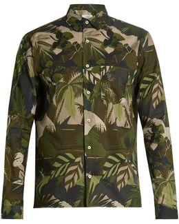Button-cuff Leaf-print Cotton Shirt