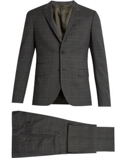 Prince Of Wales-checked Notch-lapel Wool Suit