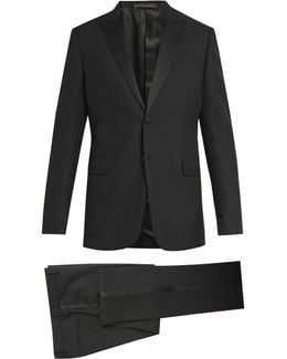 Satin-trimmed Wool And Mohair-blend Tuxedo