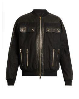 Leather-panelled Cotton-blend Bomber Jacket