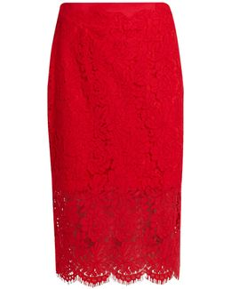Glimmer Floral-lace Pencil Skirt