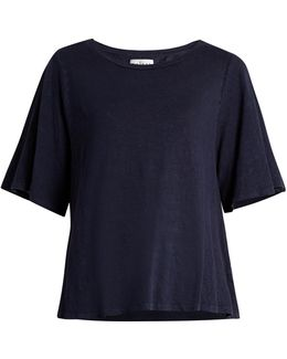 Marina Linen-blend Burnout-jersey T-shirt