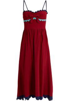 Scallop-edged Silk Midi Dress
