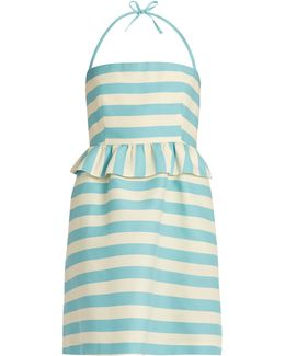 Striped Halterneck Cotton-blend Twill Mini Dress