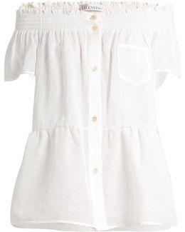 Striped Off-the-shoulder Cotton-blend Top