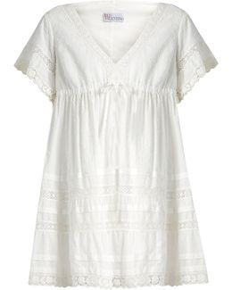 Lace-trimmed Swiss-dot Cotton Dress