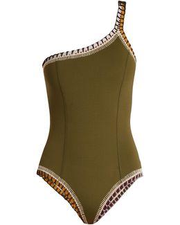 Wren One-shoulder Crochet-trimmed Swimsuit