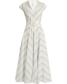 Chevron-striped Linen Dress
