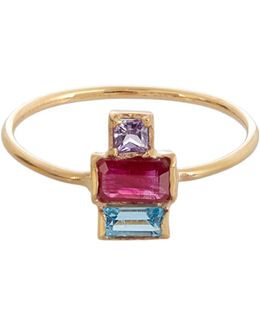 Ruby, Sapphire, Topaz & Yellow-gold Ring