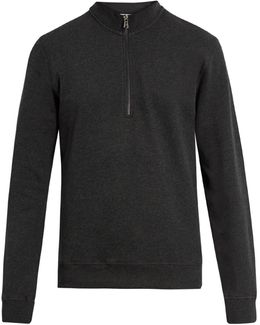 Zip-up High-neck Cotton Sweatshirt