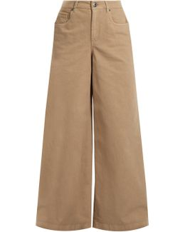 High-rise Wide-leg Stretch-cotton Trousers