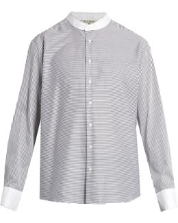 Granddad-collar Striped Cotton Shirt