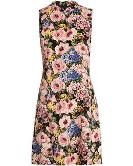 Floral-print Sleeveless Crepe Dress