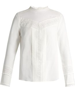 Lace-trimmed Stretch-silk Blouse