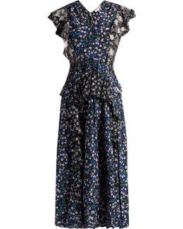 Patchwork Floral-print Silk Dress