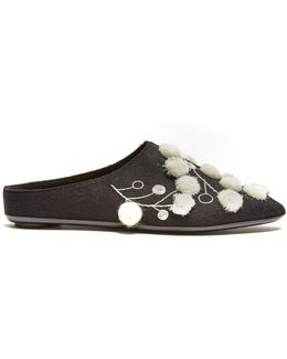Bea Embroidered Cashmere Slipper Shoes
