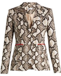 Fenice Python-print Cotton-blend Blazer