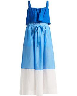 Color-block Cotton And Silk-blend Maxi Dress