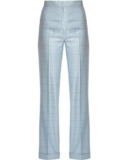 Shipton Silk And Wool-blend Checked Trousers