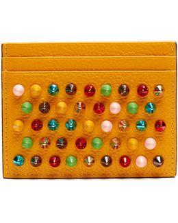 Kios Spike-embellished Leather Cardholder