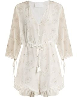 Romance In The Wind Silk-crepe Playsuit