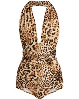 Bill Leopard-print Halterneck Swimsuit