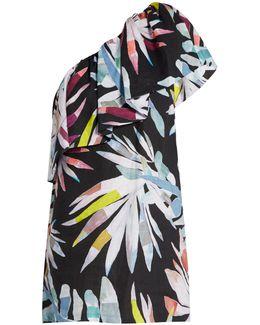 Xylophone Black-print One-shoulder Linen Dress