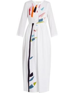 Xylophone-embroidered Midi Linen Dress