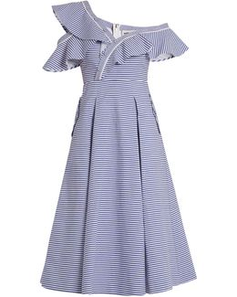 One-shoulder Striped Cotton Dress