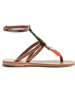 Ariana Feather-embellished Leather Sandals
