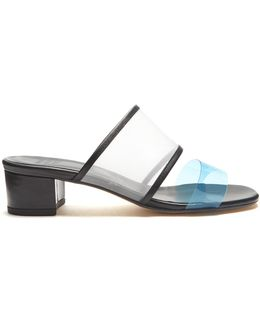 Martina Contrast-strap Mesh And Leather Mules