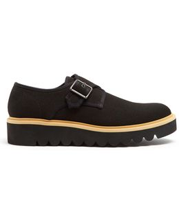 Monk-strap Canvas Raised-sole Shoes