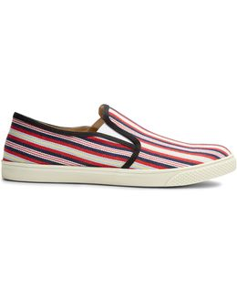 Striped Canvas Backless Slip-on Trainers