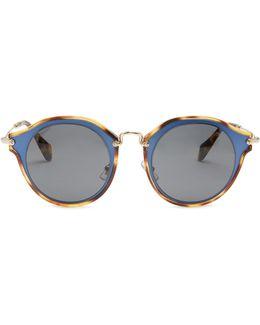 Bi-colour Round-frame Sunglasses