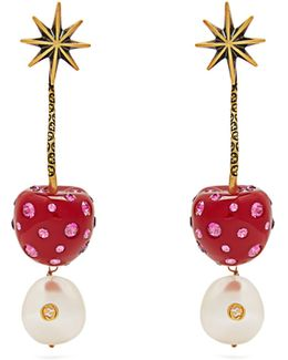 Cherry And Pearl Crystal-embellished Earrings