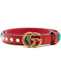 Embellished Gg-logo 2cm Leather Belt