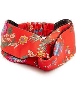 Floral-embroidered Satin Headband