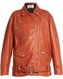 Myrtle Oversized Leather Biker Jacket