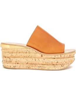 Camille Leather Wedge Mules
