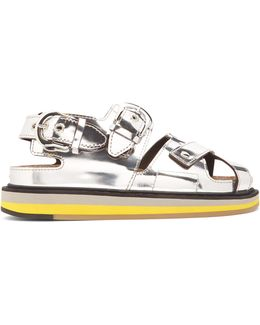 Buckle Cross-strap Leather Sandals