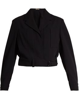 Belted Wool Cropped Jacket
