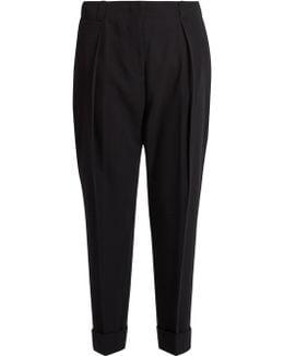 High-rise Cropped-leg Wool Trousers