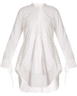 Granddad-collar Cotton-voile Dress